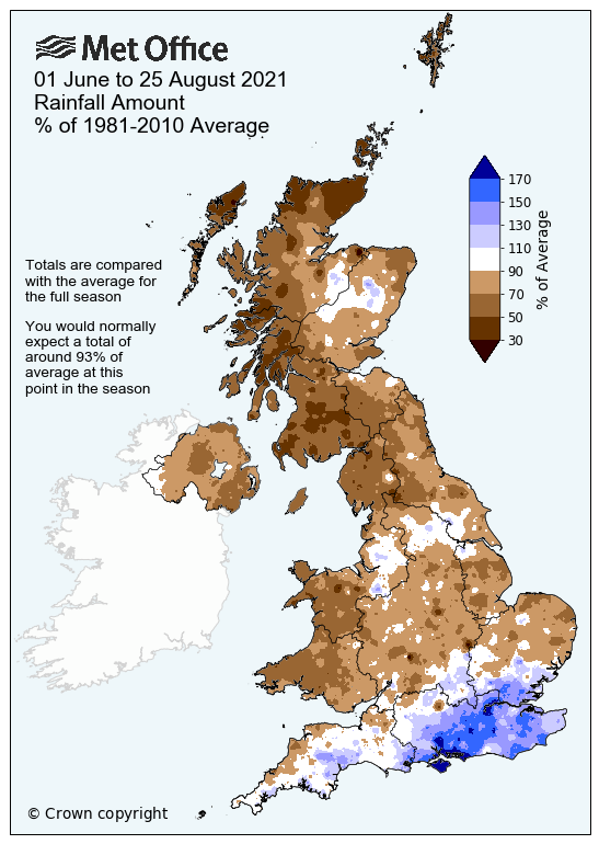 Map of the UK showing rainfall amounts versus the long term average. The map shows that many northern and western areas have been drier than average, while some areas in the southeast and south have been much wetter than average.