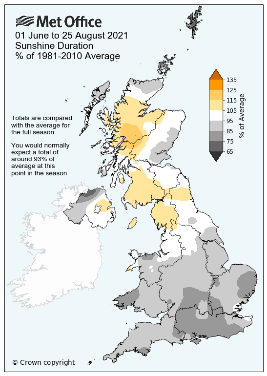 Map showing the UK's average sunshine duration. The map shows that the south had been duller than average, but northern areas have already seen more sunshine than average.